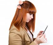 Young Business Woman Enjoys A Tablet Pc