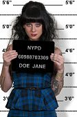 stock photo of lockups  - Mugshot of a beautiful young woman criminal - JPG