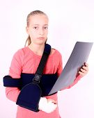 Sorrowful Girl With The X-ray Photo