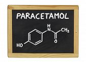 chemical formula of paracetamol on a blackboard