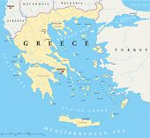 stock photo of piraeus  - Political map of Greece with the capital Athens - JPG