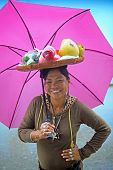 Woman With Fruit Basket on Head