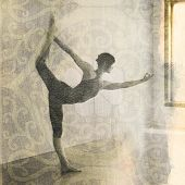 stock photo of natarajasana  - Woman in yoga pose Natarajasana or dancer - JPG