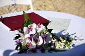 Wedding Bouquet And Marriage Certificate Signed.