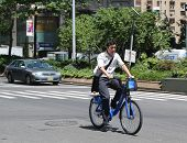 Unknown Citi bike rider in Manhattan