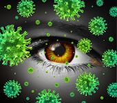 stock photo of cataract  - Eye infection as a contagious ocular disease transmitting a virus with human vision spreading dangerous infectious germs and bacteria during cold or flu symptoms - JPG