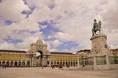 Statue And Arch In Praca Do Comercio In Lisbon. Portugal
