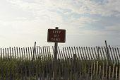 Vedação e letreiro 'tira dunas'
