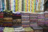 Dubai UAE Colorful fabrics are displayed for sale at the Al Naif souq in Deira.