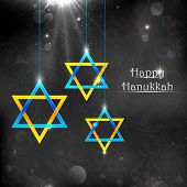 picture of menorah  - illustration of Happy Hanukkah background with hanging star of David - JPG