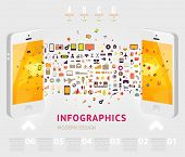Business infographic sjabloon. Mobiele telefoons-technologie. Diagrammen en pictogrammen set. Genummerde banners. M