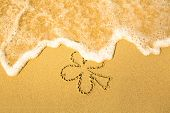 Clover leaf (concept: St. Patrick Day) - written in sand on beach texture,  soft wave of the sea