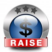 income raise a rise in higher salary pay increase negotiation for job promotion blue icon
