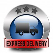 express delivery shipping online order from internet webshop blue web shop icon or button