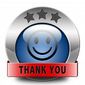 Thank you note saying thanks a lot sign expressing gratitude blue metal button or icon
