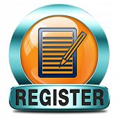 register here orange sign or icon. Membership registration button or sticker.