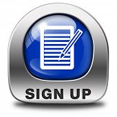 sign up or apply now blue icon and subscribe here for membership. Fill in application form metal but