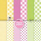 Set of cute seamless patterns - digital scrapbook paper