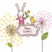 easter bunny card happy easter greeting design elements