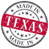 Made In Texas Red Round Grunge Isolated Stamp