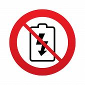 No Battery charging sign icon. Lightning symbol.