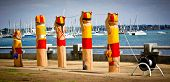 GEELONG, AUSTRALIA - JANUARY 31: Colourful bollards on Geelong's foreshore. More than 100 by artist