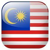 pic of malaysia  - Malaysia national flag square button isolated on white background - JPG