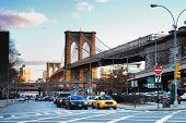 NEW YORK CITY - AUG 8: The Brooklyn Bridge, the first steel-wire suspension bridge, is one of the ol