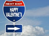 Happy valentine's road sign