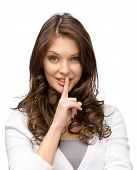 stock photo of silence  - Portrait of woman who silence gestures - JPG