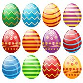 image of easter decoration  - Set of easter eggs vector illustration on white background - JPG