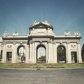 Puerta de Alcala in Madrid, Spain with retro effect.