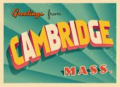 Vintage Touristic Greeting Card - Cambridge, Massachusetts - Vector EPS10. Grunge effects can be easily removed for a brand new, clean sign.