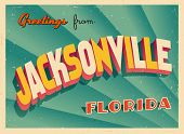 Vintage Touristic Greeting Card - Jacksonville, Florida - Vector EPS10. Grunge effects can be easily