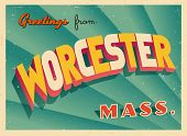 Vintage Touristic Greeting Card - Worcester, Massachusetts - Vector EPS10. Grunge effects can be easily removed for a brand new, clean sign.