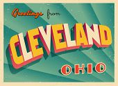 Vintage Touristic Greeting Card - Cleveland, Ohio - Vector EPS10. Grunge effects can be easily remov