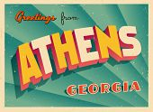 Vintage Touristic Greeting Card - Athens, Georgia - Vector EPS10. Grunge effects can be easily remov