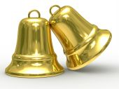 Two Gold Hand Bell On White Background. Isolated 3D Image.