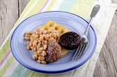 Black And White Pudding With Baked Beans