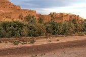 Famous Ait Benhaddou, Morocco, in evening light