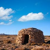 Maestrazgo shepherd shelter in Castellon Windmills with traditional rural life at spain