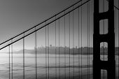 San Francisco Golden Gate Bridge black and white California USA