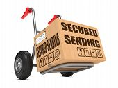 Secured Sending - Cardboard Box on Hand Truck.