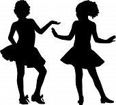 Meninas felizes da silhueta