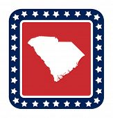 stock photo of south american flag  - South Carolina state button on American flag in flat web design style - JPG