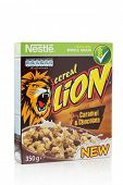 Sarajevo, Bosnia & Herzegovina, February 09, 2014: A box of Nestle Lion caramel and chocolate cereal