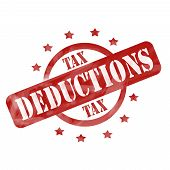 Red Weathered Tax Deduction Stamp Circle And Stars Design