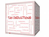 Tax Deductions Word Cloud Concept On A 3D Cube Whiteboard