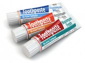 Three toothpaste containers on white isolated background. 3d