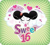Funky vector Sweet 16 card